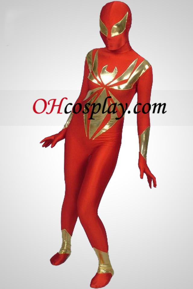 Red Lycra И Shiny Metallic Piece Together Superhero Зентай Suit