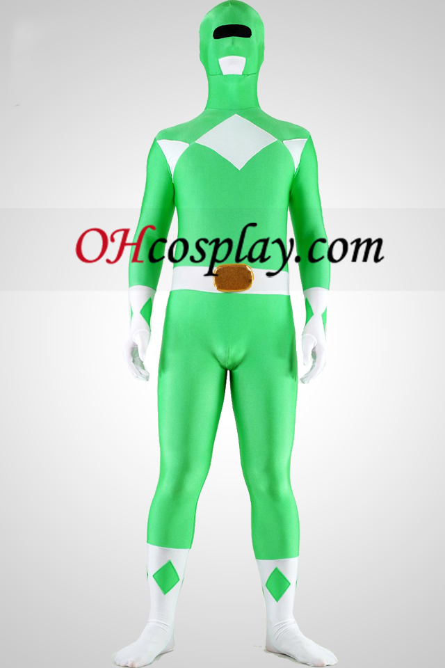 Mighty zentaiin Green Ranger Lycra Spandex Superhero Zentai Suit