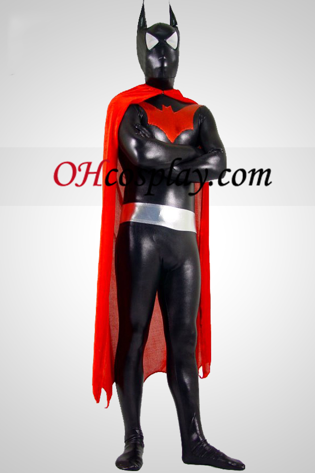 Shiny Suit Zentai Metallic Batman Con Red Cape