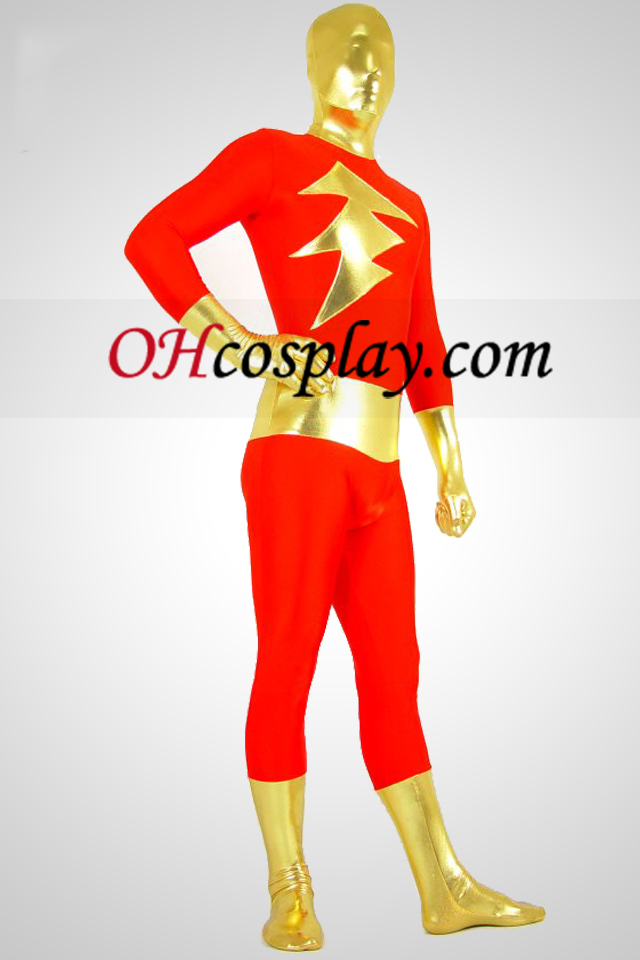 Red Lycra Spandex Shinny Metallic Unisex Suit Zentai