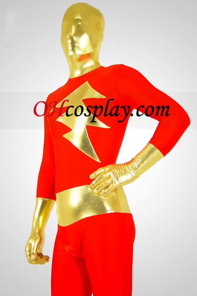 Red Lycra Spandex катеря Metallic Унисекс Зентай Suit