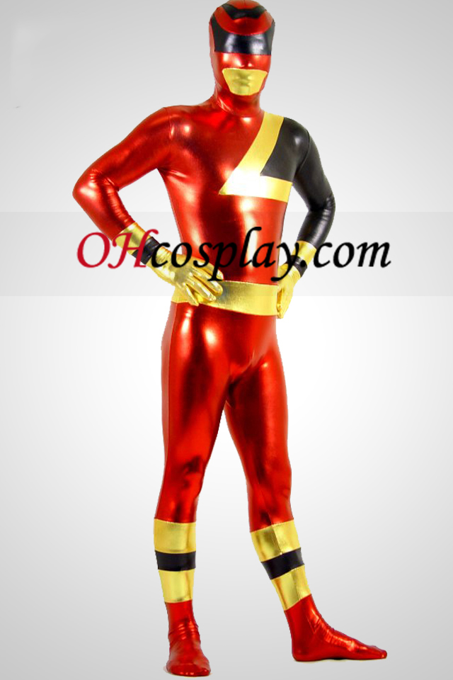 SPD Ranger Rouge Brillant Métallique Zentai Suit Superhero