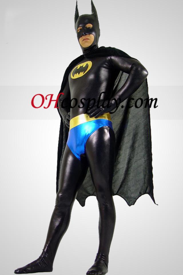 Traje metálico brillante Negro Batman Zentai Con Negro Cabo