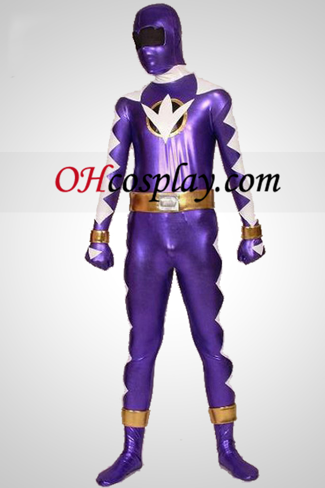 Dino Trueno Purple Guardabosques Lycra Y brillante metalizado traje Zentai