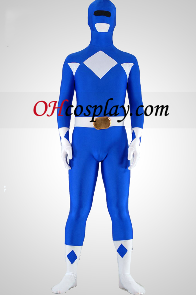 Mighty zentaiin Blue Ranger Lycra Spandex Superhero Zentai Suit