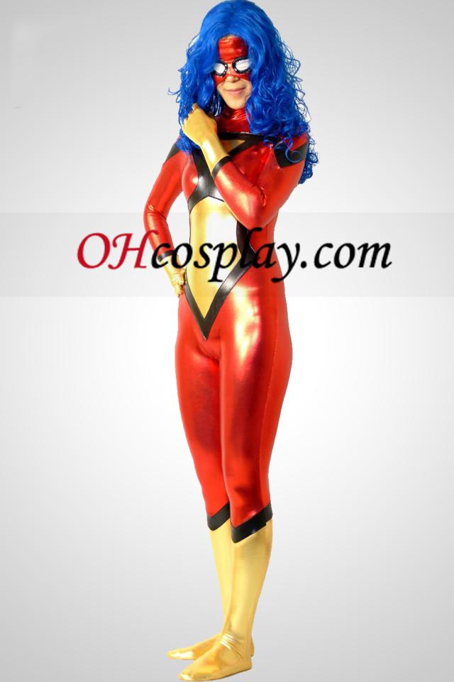 Spider-Mujeres Jessica dibujó brillante metálico superhéroe traje Zentai