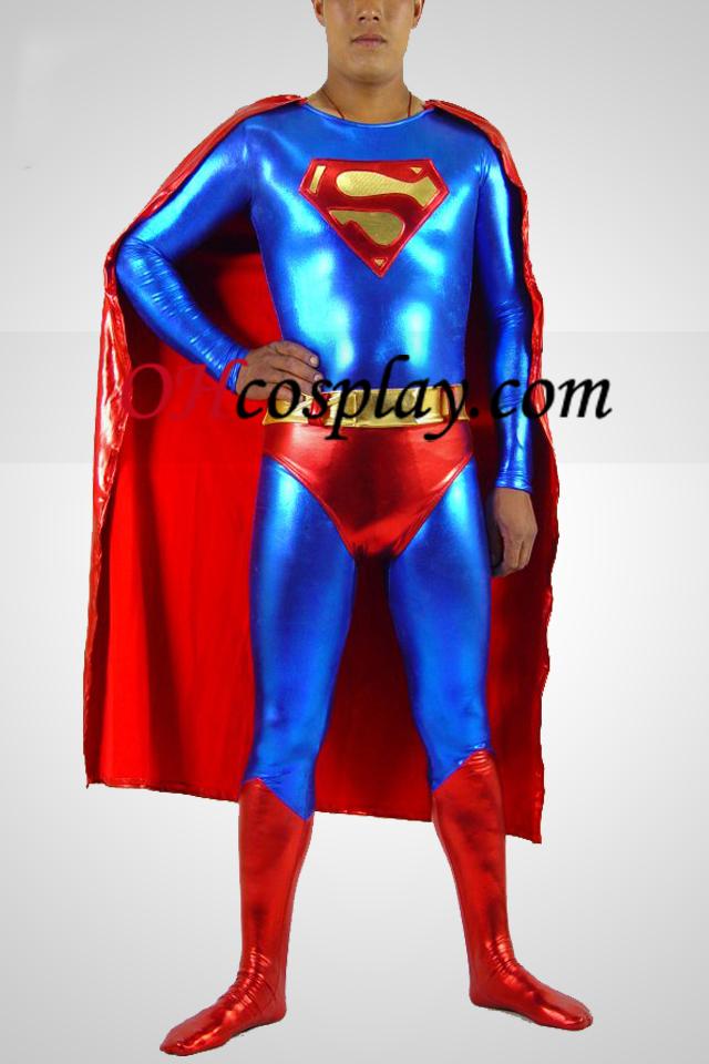블루와 레드 슈퍼맨 빛나는 금속 슈퍼 영웅 Catsuit는