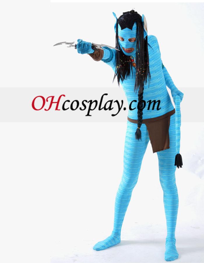 Blå Avatar Lycra Spandex Superhero Zentai med paryk og tilbehør