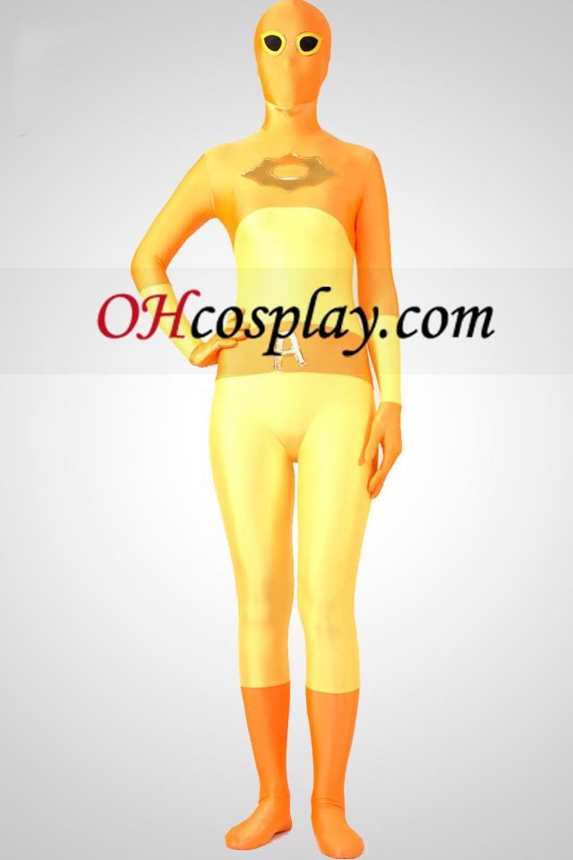 Gult och guld Full Body Lycra Spandex Zentai Suit