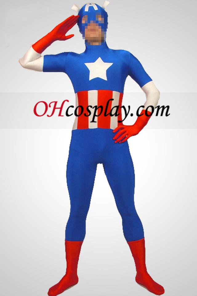 Capitain American Lycra Spandex Superhjälte Zentai Suit