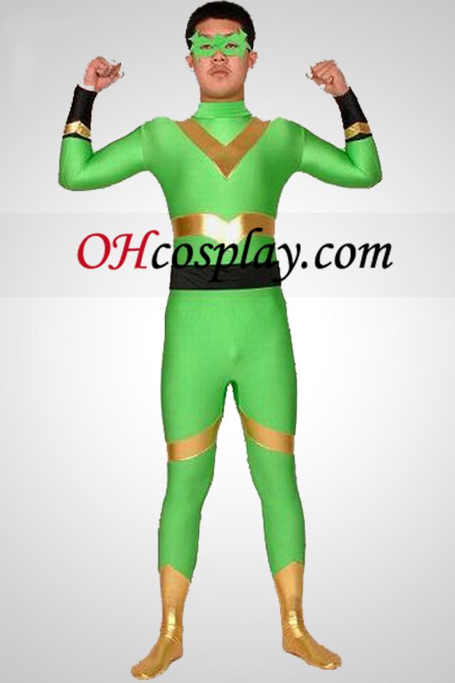 Verde e oro Lycra Spandex Zentai Superhero