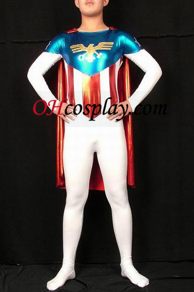 Bandiera Superman lycra e lucido metallizzato Superhero Zentai Suit