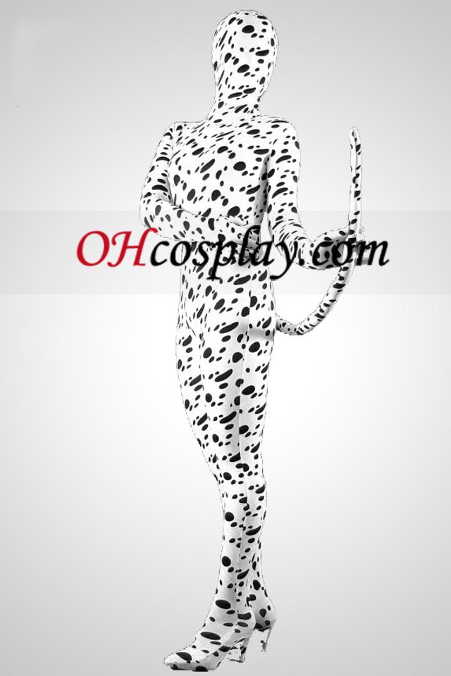 Dalmatiner Haut Lycra Spandex Unisex Zentai-Anzug mit Endstück