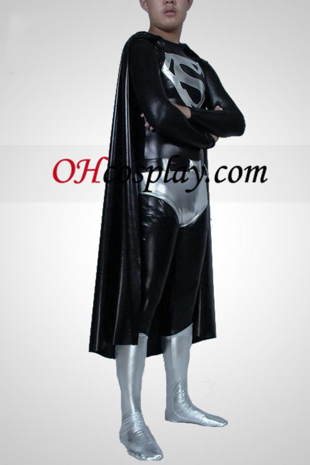 Black And White metallskimrande Superman Superhero Zentai