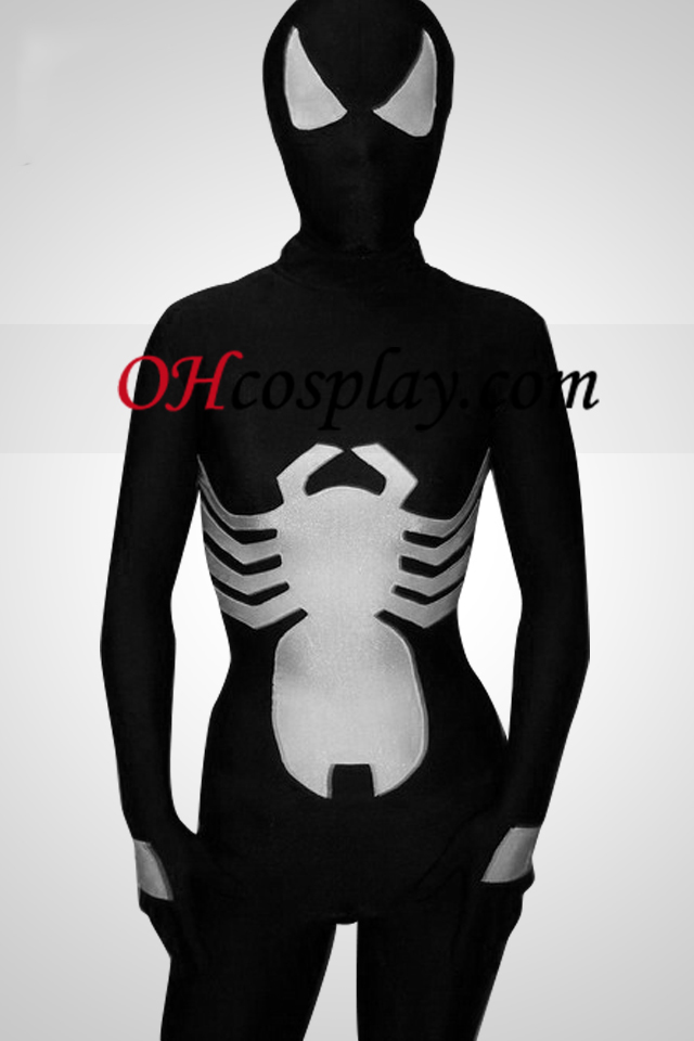 Black And White Lycra Spiderman Superhero Zentai Suit