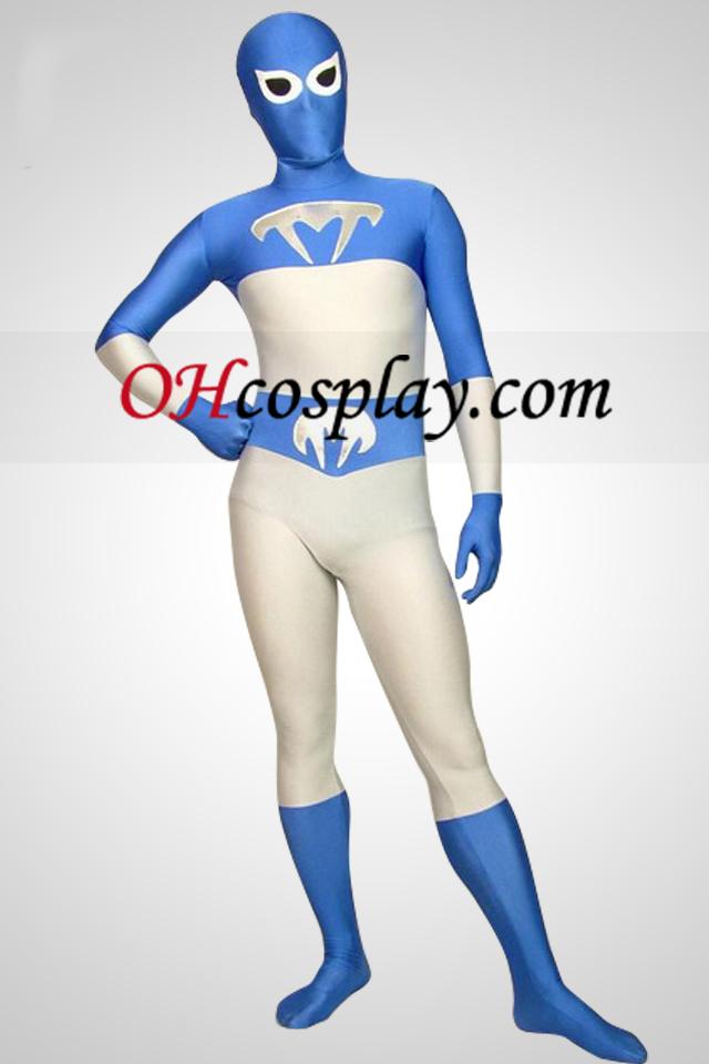 Бяло и синьо Lycra Full Body Superhero Зентай Suit