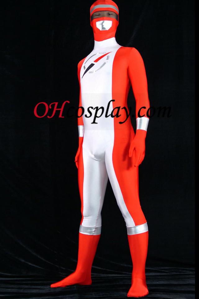 Operação Overdrive Ranger vermelho Spandex Lycra Zentai Suit Superhero