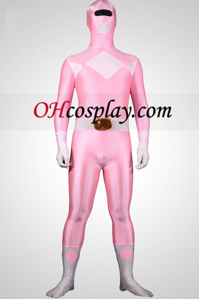 Poderoso zentaiin Suit Ranger Rosa Spandex Lycra Zentai