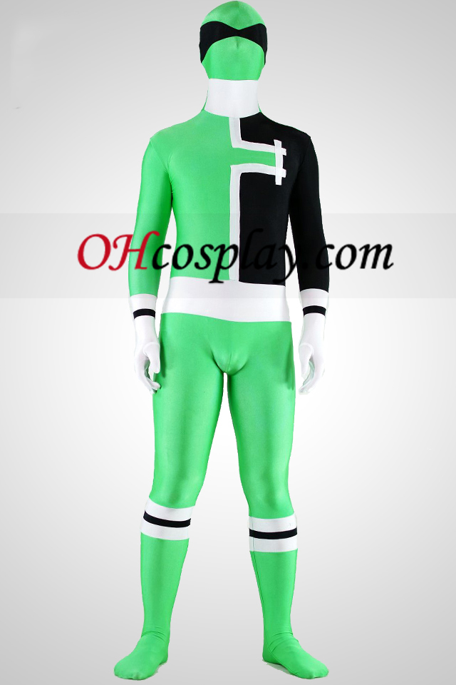 SPD Grønn Ranger Lycra Spandex Superhero Zentai Suit