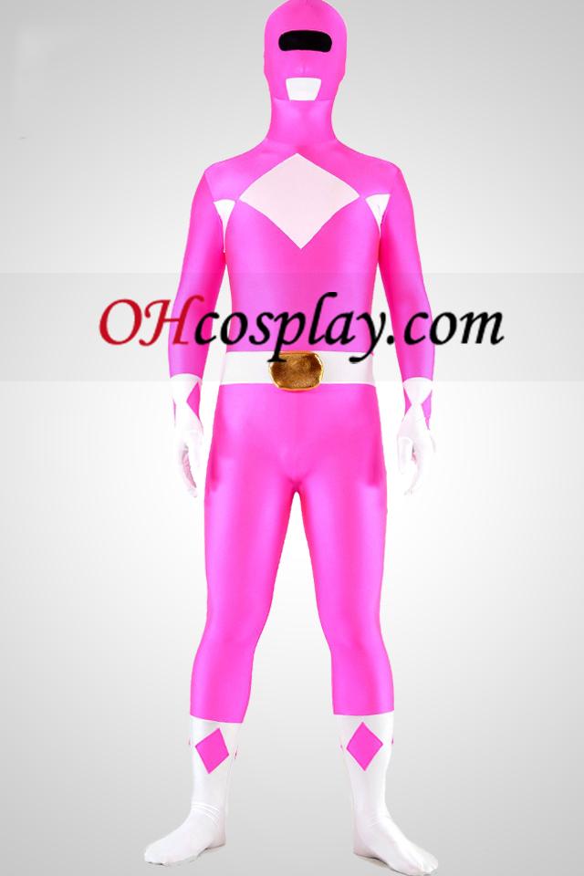 마이티 zentaiin 핑크 레인저 라이크라 스판덱스 영웅 Zentai 옷 한 벌