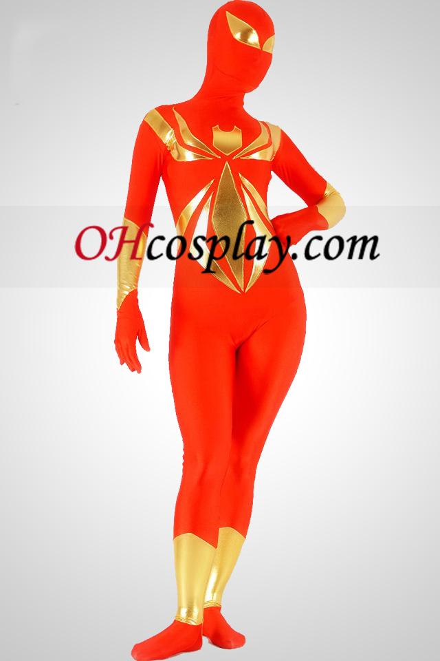 Червено и златно Lycra Spandex Унисекс Superhero Зентай Suit