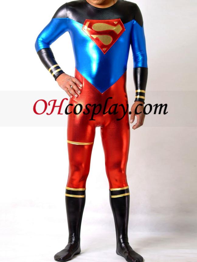 Shiny Metallic Супермен Superhero Catsuit