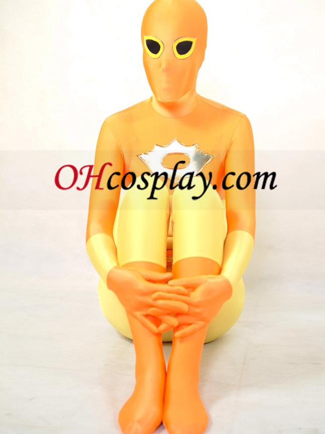 חליפה צהובה וכתומת הלייקרה ספנדקס מערער