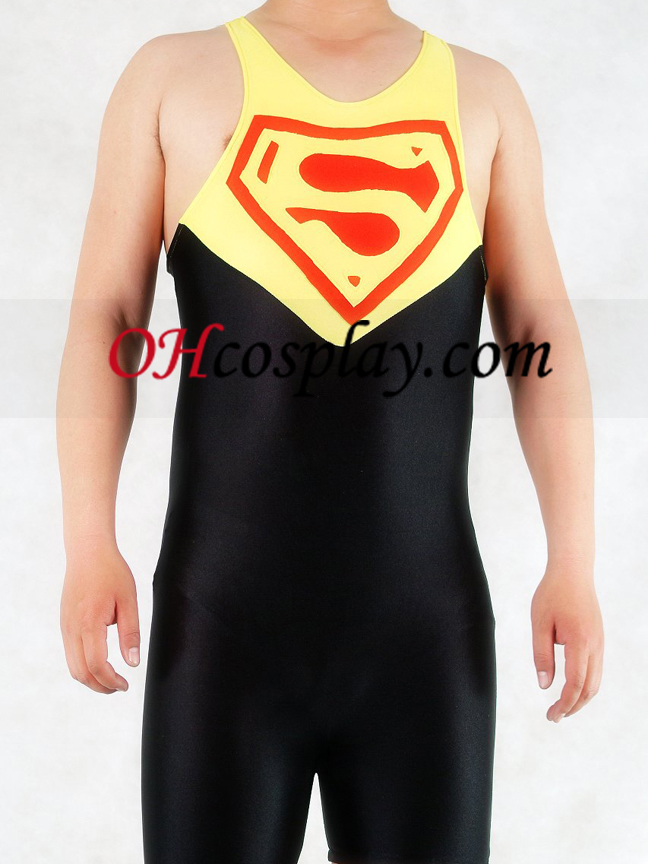Yellow And Black Superman Lycra Gymnasium Catsuit