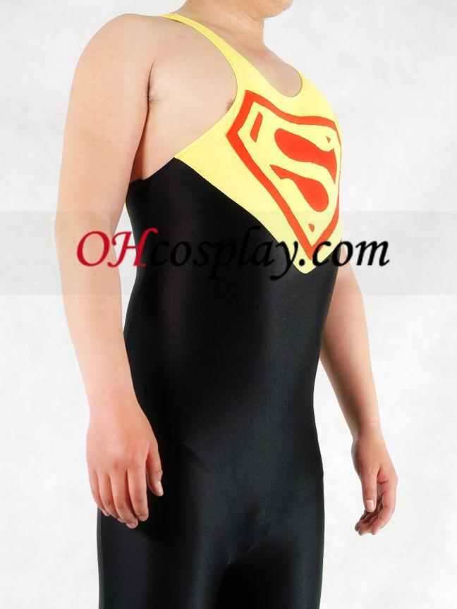노란색과 검은 색 슈퍼맨 라이크라 체육관의 Catsuit