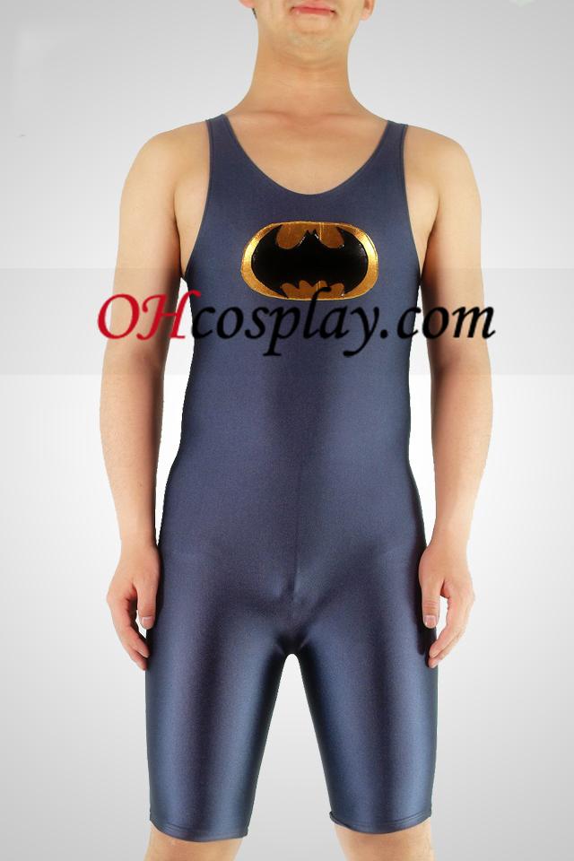 Grå Lycra HalfBody Batman Gymnasium Superhero Zentai