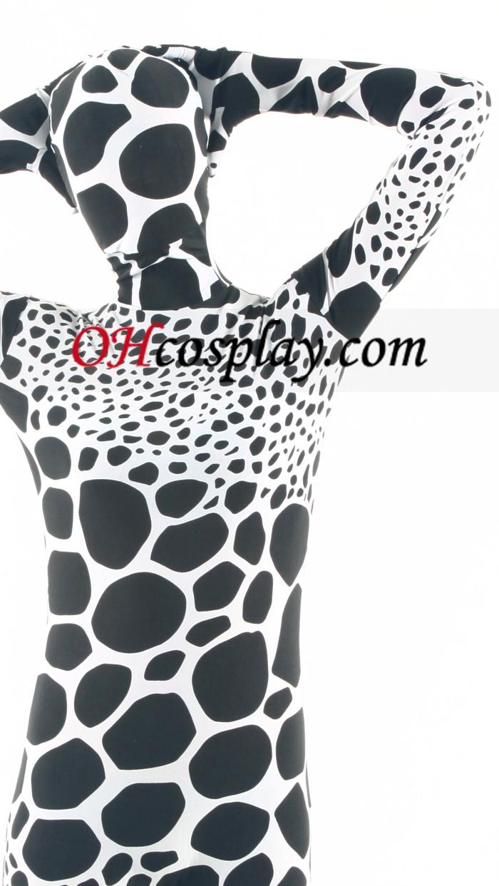 Черно бяла Giraffe Pattern Lycra Зентай Suit