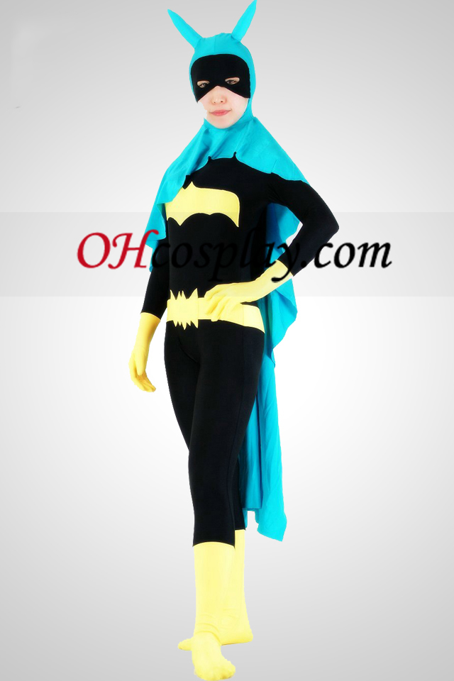 Bat Woman Lycra Superhero Zentai Suit med Cape