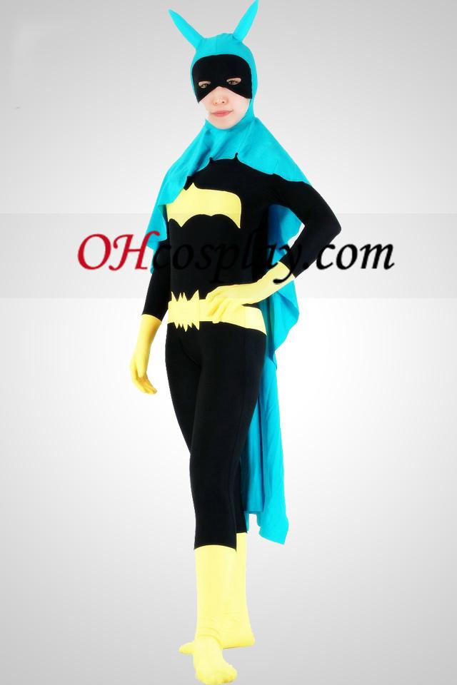 Bat Woman Lycra Superhero Zentai Suit med Kap