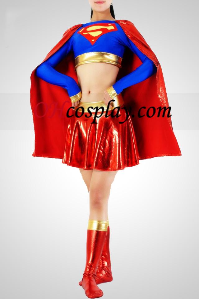 Shiny Metallic Super Woman Superhero Catsuit