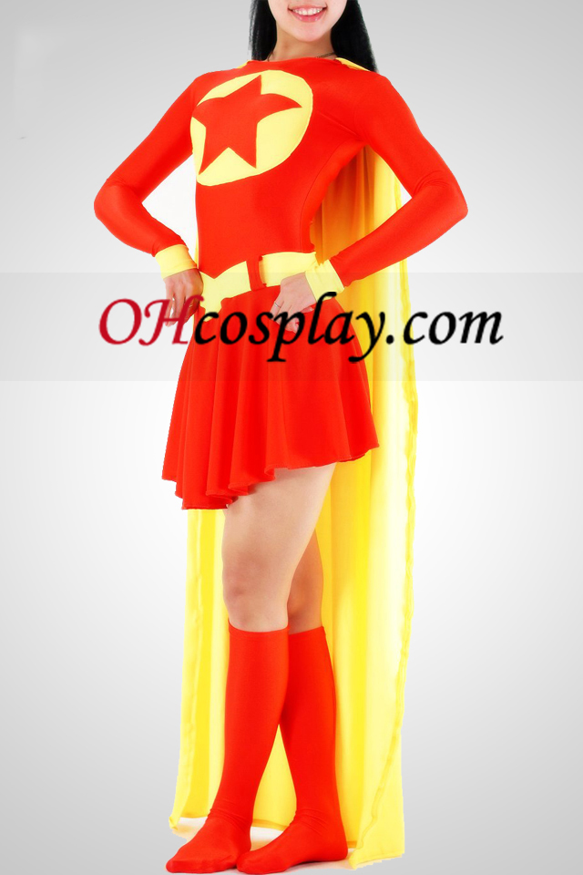 Червени и жълти Super Woman Lycra Superhero Catsuit