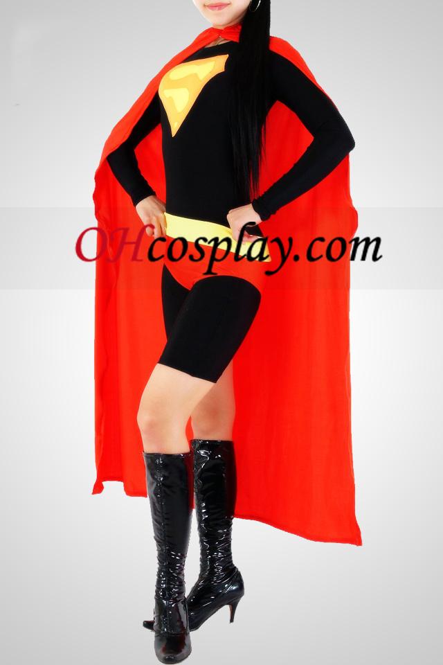 빨간색과 검은 색 슈퍼 우먼 라이크라 스판덱스의 Catsuit