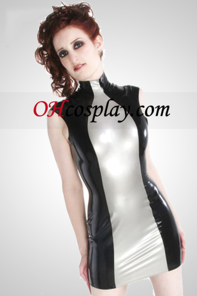 Silver And Black Sleeveless Sexy Latex Dress