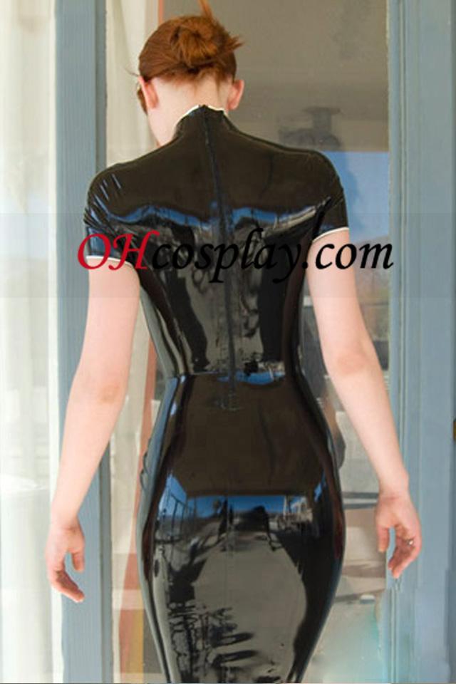 שחורים שווי שרוולי Cheongsam סגנון סקסי לטקס שמלה