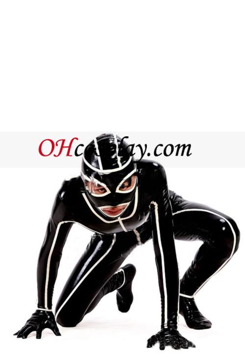 2013 Черно и бяло Full Body Покрит Латекс костюм с отворени очи и уста
