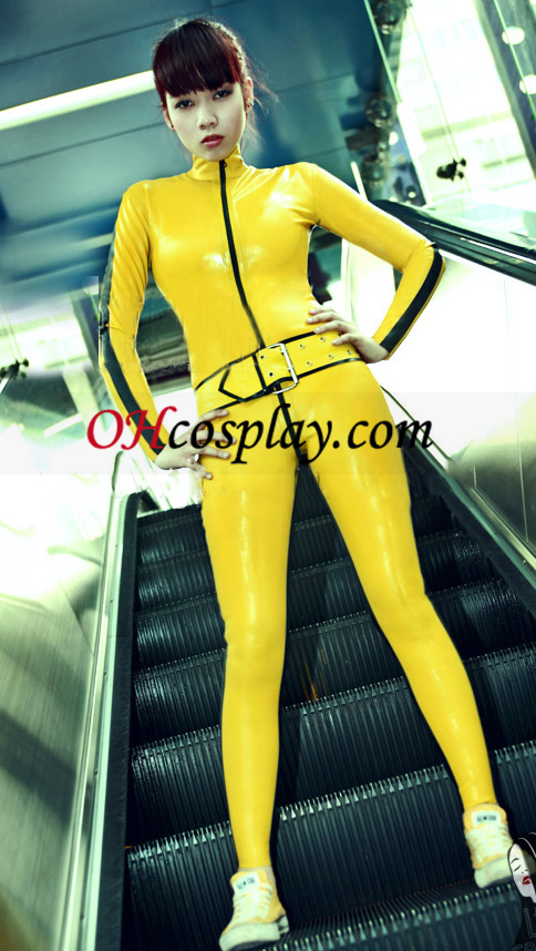 Gul og svart Full Body Dekket Latex Catsuit