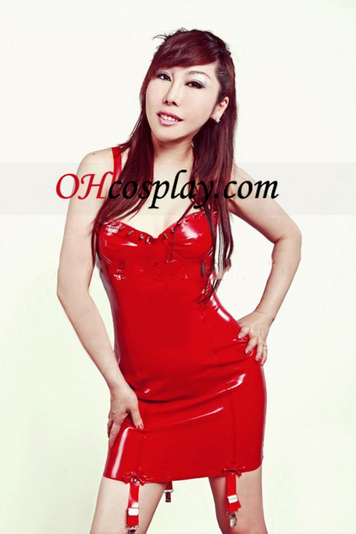 Red Sexy Mini vestido sem mangas Latex