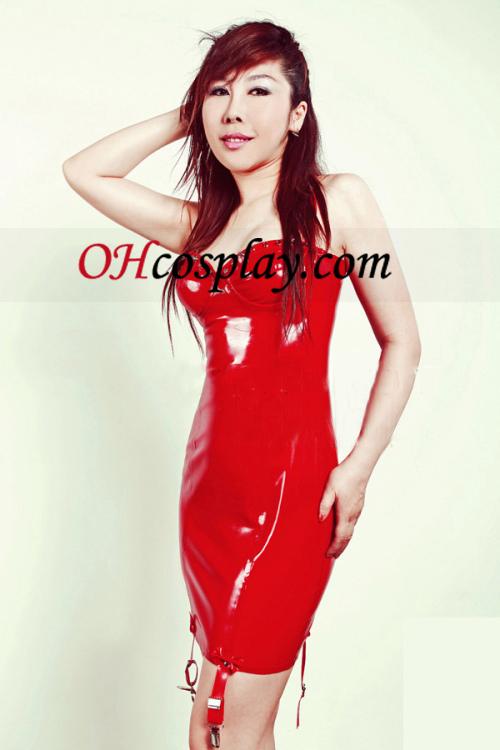 Red Sexy Mini ръкав Latex Dress