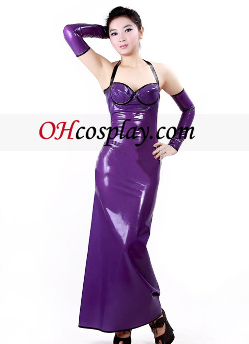 Purple and Black Latex Dress