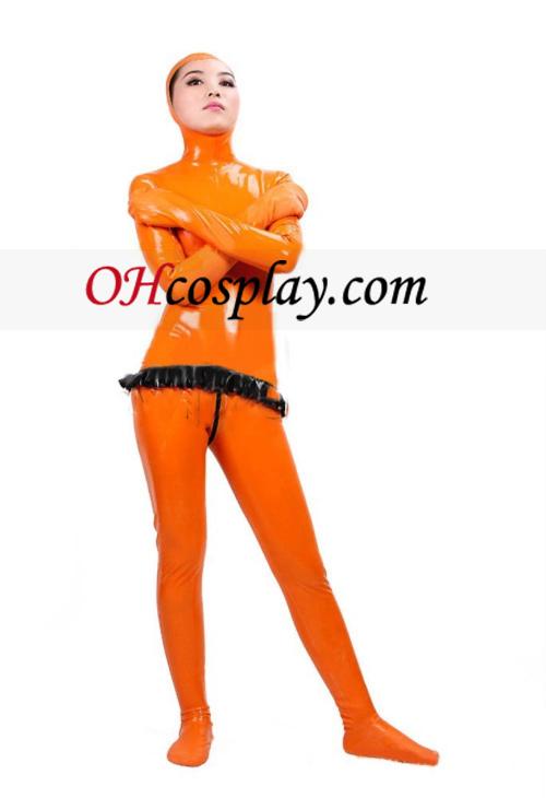 אורנג\' גוף מלא מכוסה לאטקס בגד גוף עם פנים פתוחים