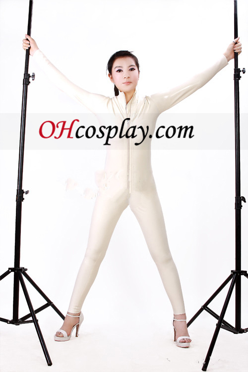 2013 White Front Open Sexy Latex Catsuit