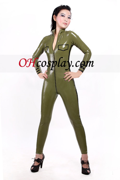 Army Green Sexy Front Open Shiny Metallic Catsuit