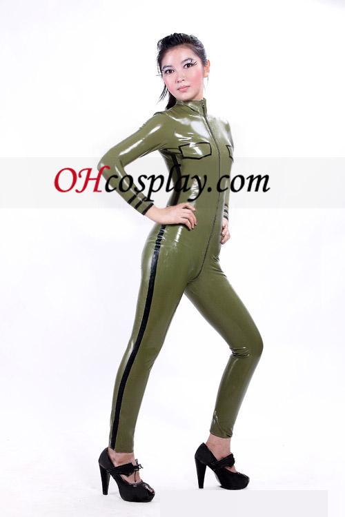 육군 녹색 섹시한 전면 오픈 빛나는 금속 Catsuit는