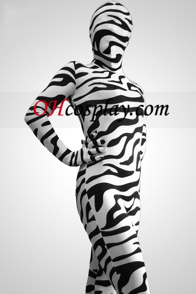 Черно и бяло Zebra Pattern Зентай Suit