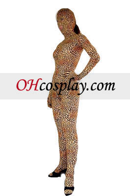 Leopard Pattern Open Eyes And Mouth Lycra Spandex Zentai