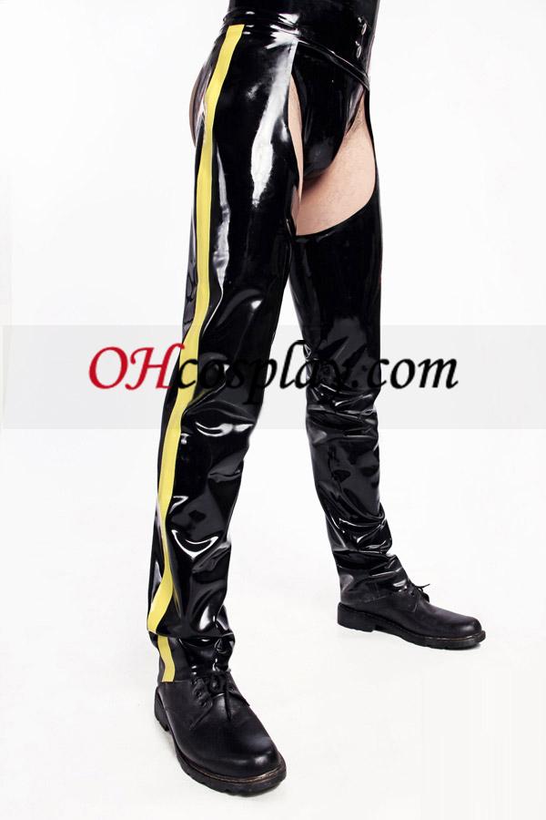 Shiny Black and Yellow Latex-Kostüm